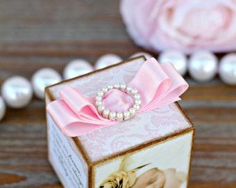 No. 39 Personalized Pink Lace Baby Photo Block Nursery Decor Keepsake