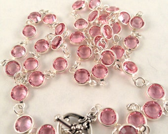 Handmade Pink Swarovski Crystal Open Back Necklace - Silver bezel framed light rose beveled crystals - toggle clasp - wedding bridal - party