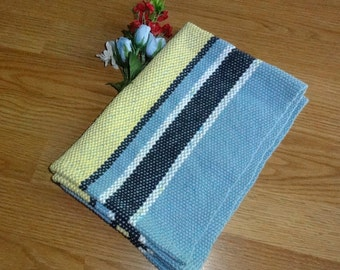 Woven Kitchen Towel Handwoven in Blue and Yellow by Canterlily