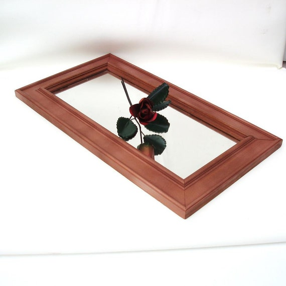 Upcycled Wall Mirror Wood Framed Mirror Large Mirrored Tray Centerpiece Urban Loft Decor