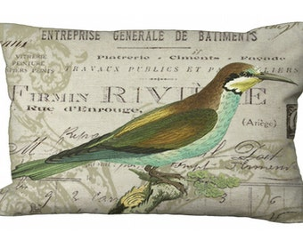 Oblong Aqua Bird on French Invoice Lumbar Pillow Cover 24x16 or 20x13 or 18x12