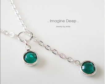 30%off SPECIAL Green Lariat Necklace Y Necklace Silver Plated Emerald Like Swarovski Crystal Necklace