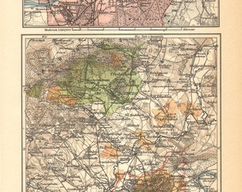 1905 Original Antique Dated Map of Frankfurt and its Surroundings