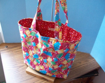 Mini Tote Bag, Toddler Size, Cotton, Luggage All Over Print, Fully lined, Ready to Ship