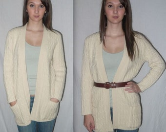 Maggie May ... Vintage 70s cardigan sweater / 1970s chunky cable knit / boho long jacket  ... S M L / bust 40