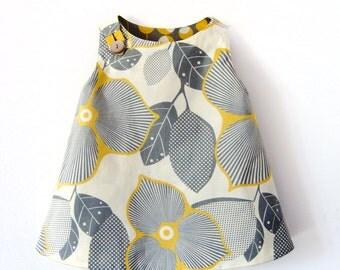Grey and yellow reversible retro girl dress