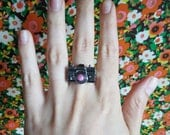 Cute Little Camera Ring with Pink Lens. Vintage Nikon Inspired.