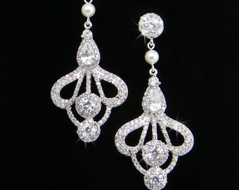 Crystal Bridal Earrings,  Wedding Swarovski pearls, Crystal rhinestones, Dangle Drop, Quinn Chandelier Earrings Earrings