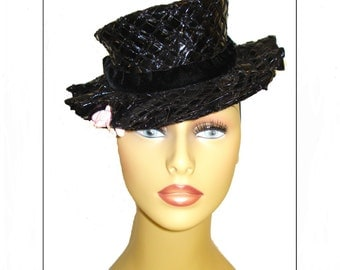 Designer 1930s Hat Tilt Couture Art Deco Black