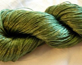 """Viscose Silk Yarn: color green (243), knitting and crochet lace yarn. Yarn """"ajur"""". DSH"""