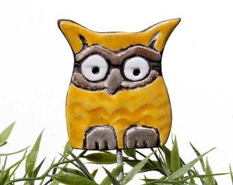 Owl garden art - plant stake - garden decor - owl ornament  - ceramic owl - small - yellow