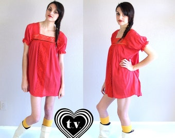 sale vtg 70s red SHEER LACE gauzy MEXICAN Tunic Top medium hippie festival babydoll shirt