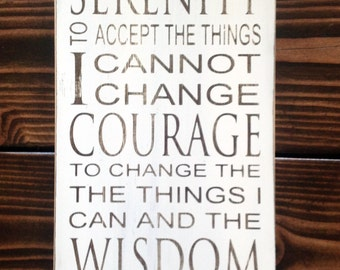 Serenity Prayer Typography Art Sign - Subway Art - Distressed