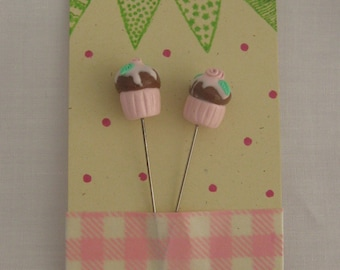 Sewing Pin Toppers TWO Cupcakes pink