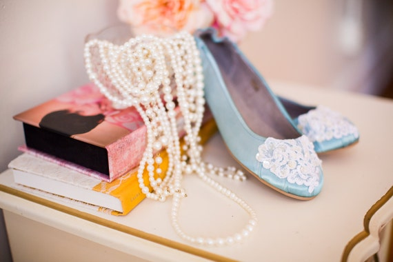 Wedding ballet flats low heel bridal shoes embellished with white organza lace, crystal sequins, and pearls