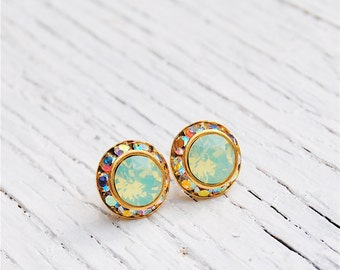 Pacific Green Opal Aurora Borealis Earrings Sugar Sparklers Small Swarovski Crystal Opal Aurora Borealis Rhinestone Stud Earrings Mashugana