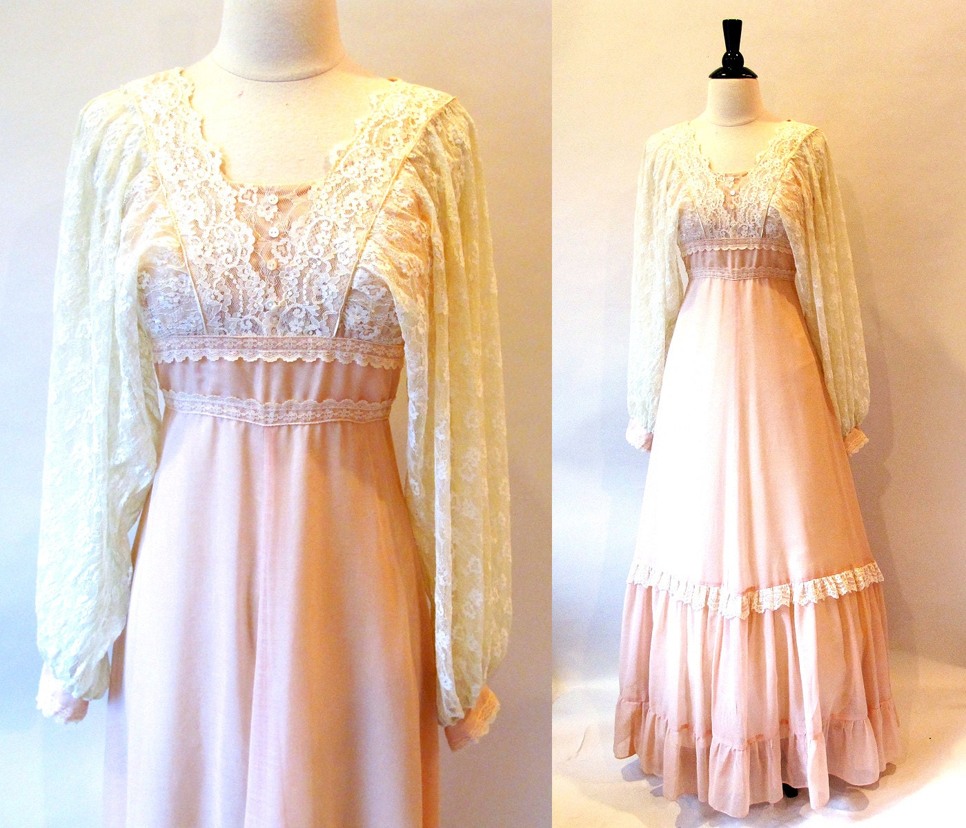 Jessica McClintock 70s Gunne Sax Gown Peach Voile and Lace