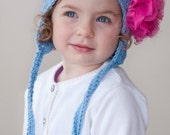 Girls Hat, Shabby Rosette Crochet Hat, Spring Hat, Baby, Toddler, Blue
