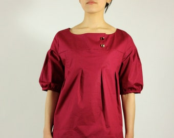 ON SALE! Burgundy Top Vintage inspired Before 68 Dollars  loose fit half sleeve spring summer shirt Cotton top pleated front Rose Temple
