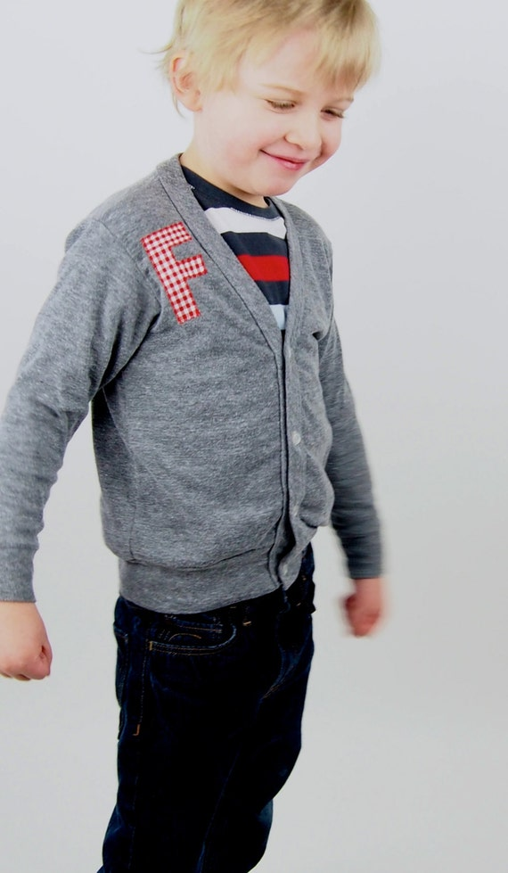 Personalized Kids Cardigan, Custom Monogrammed Sweater, Boys and Girls Initial Cardigan