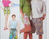 Easy Shorts Pattern Easy Unisex Surfer Skater Bermudas 1980's Summer Beach Wear Simplicity 9241 Medium