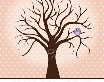 Polka Dot Fingerprint Tree Guestbook for Shower, Party, Wedding, etc