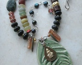 Thai Forest Temple Necklace- Buddhist amulet, Fern Stoneware, Sterling-Free US Shipping