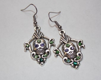Seriously Sparkly Sugar Skull Earrings - Day of the Dead