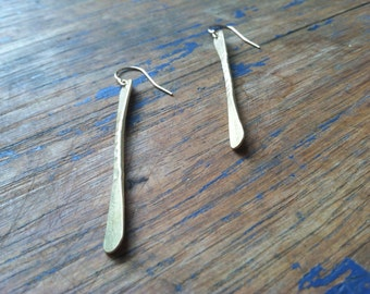 Simple Hammered Brass Earrings.