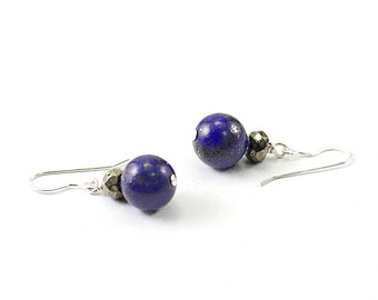 Lapis lazuli earring sterling silver pyrite earrings blue gemstone earrings genuine stone earring, blue stone earrings lapis earrings
