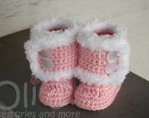 Fur-Trimmed Button up Booties Newborn/Infant