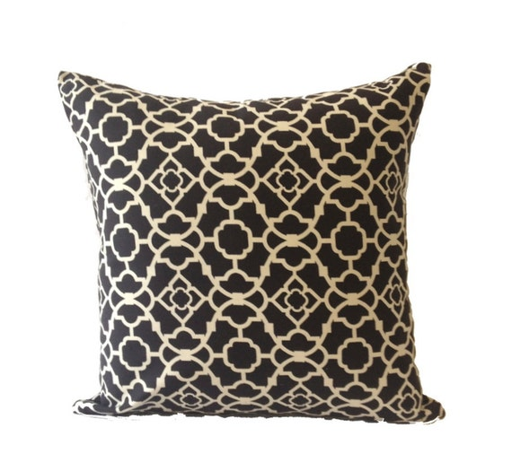20x20 Decorative Pillow Cover  - Moroccan Lattice Print - Black & White- Invisible Zipper Closure- Cushion Cover
