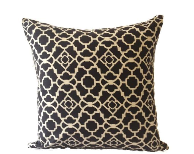 Black & White Decorative Pillow Cover - Moroccan Lattice Print - 20x20 Invisible Zipper Closure- Cushion Cover