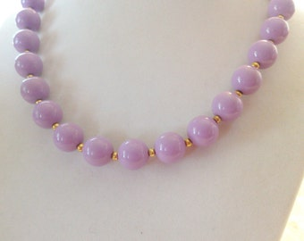 Lavender with Gold Bead Choker Necklace