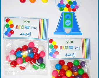 GUMBALL PARTY TAGS ~ Printable Instant Download