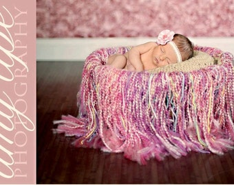 Fringe baby blanket photo prop in pinks. Made to order.