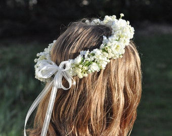 Flower Girl Wreath, First Communion Wreath, Wedding Flowers, Ivory Artificial Rose and Babies Breath Hair Crown at Holly's Flower Shoppe.