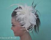 "Bandeau 804 -- VEIL SET w/ Feather Fascinator Hair Clip & Ivory or White 9"" Birdcage Blusher Veil for bridal wedding"