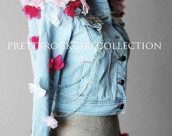 Floral butterfly epaulette studded  Denim Jacket
