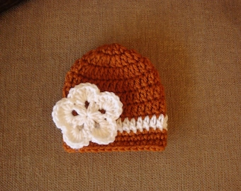 Baby Girl Burnt Orange and White Crochet Hat / Beanie, UT, Longhorn, Univ. of Texas
