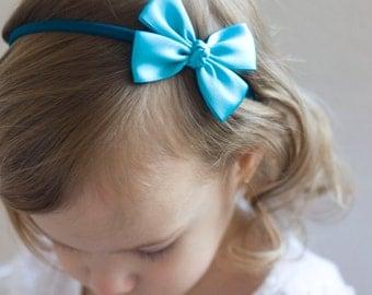 Baby Bows - Flower Girl Headband - Turquoise Like a Butterfly Satin Bow Baby Handmade Headband