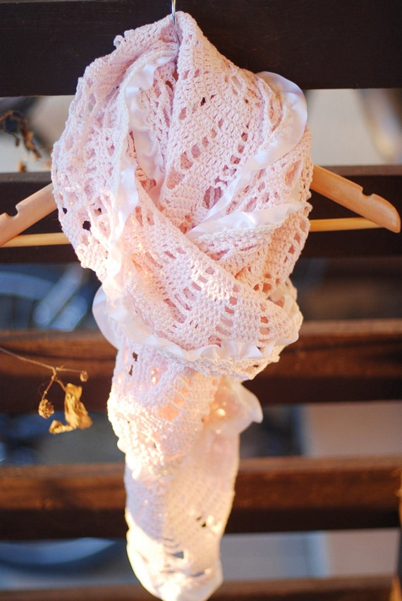 Crochet spring scarf lace dusty rose wrap - gift idea for her mom girl