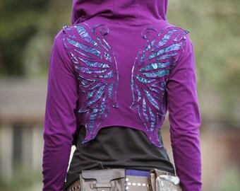 Magenta Peacock Winged Hoodie Wrap