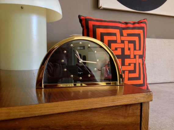 Vintage 1970s 1980s Clock Seiko Table Desk Brass Black Glass
