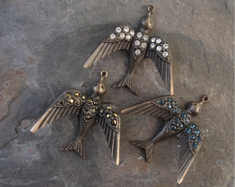 Larger Brass Bird Pendant w/ Rhinestones Hand Oxidized 37mm New (1) Crystal Montana Blue Dorado or Burgundy