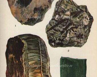 Vintage 1916 Minerals Print Antique Gems Precious Stones print gemstones print, bookplate art print, minerals wall print wall art