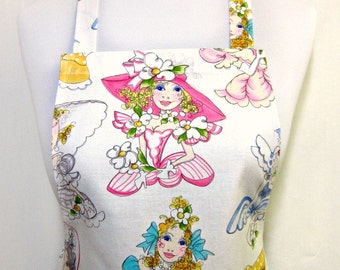 Girls Apron, Southern BELLES in Pretty PASTELS, Pink Eyelet RUFFLED Flounce, Fun Party Gift