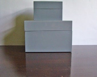 set of 2 vintage file boxes in steel gray / New Year get organized