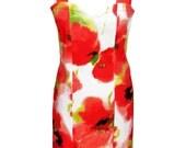 SALE - Floral Party Dress, Cotton Dress, Tailored Dress, Designers Dress, Red Flowers Dress, Summer Dress, Evening Dress, Prom Dress