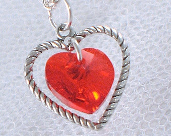 Ruby Swarovski Crystal Heart Necklace - July Birthstone - Silver Heart Charm - Gifts Under 15